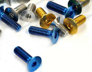 10pcs Titanium M5 X12/15/16/20/25mm Flat Head Bolts Countersunk Ti Screw