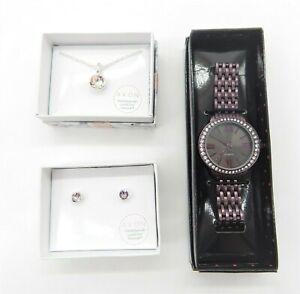 Avon Purple Jewelry Bundle Necklace Earrings & Watch Brand New