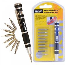 Rolson 9 in 1 Precision Screwdriver Magnet Bit Set - Twist Cap Storage