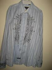 English Laundry Striped Jacquard Embroided Flip Cuffs LS Shirt XL EUC
