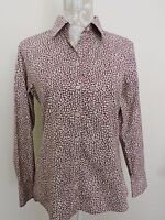 Eddie Bauer Blouse Top Shirt Wrinkle Resistant No Iron Leaf Pattern Fall Medium