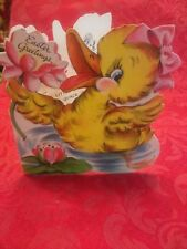 Vintage Adorable Duck Easter Card-
