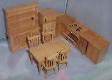 1:12 SCALE DOLLS HOUSE LIGHT OAK KITCHEN FURNITURE SET
