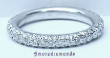 1.25 ct F VS2 round diamond eternity pave set wedding ring 18k white gold size 7