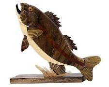 Largemouth Bass Fish Intarsia Wood Table Top Home Decor Lodge Fishing New