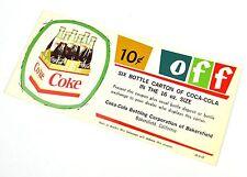 Belle ancienne Coca-Cola Coupon USA 1960er - 10c Off 6 Bouteille Carton 16 oz.