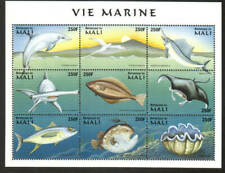 Mali Stamp - Dolphin, bird, shark, manta ray, several fish Stamp - NH