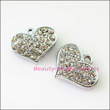 3Pcs Dull Silver Lovely Heart Crystal Charms Pendants 14x18mm