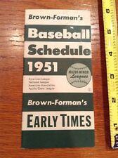 1951 Brown-Foreman's Baseball Schedule Major MLB-Minors mini booklet