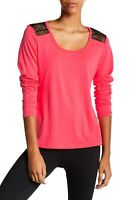 Bally Total Fitness Womens Size Medium Mesh Back Tee Poppy Pink Long Sleeve 003