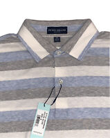 NWT Peter Millar Polo Golf Shirt Collection Blue Striped S/S Size Medium