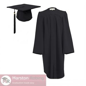 Black Adult Graduation Gown & Hat for College and University- zipped front