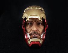 1/6 Iron Man Mark 42 Tony Stark Helmet Head Sculpt Pepper Potts Hot Toys 43 45 V