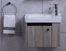 Modern Cloakroom Compact Wall Bathroom Vanity Cabinet Sink Unit Brown Grey White