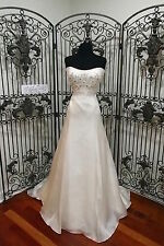 V225W JIM HJELM 8908 SZ 14 IVORY $3295 BEADED FLORAL WEDDING GOWN DRESS