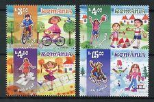 Romania 2017 MNH Childhood Games 4v Set Football Bicycles Sledding Stamps