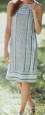 J.jill Dress Linen Striped 3x Blues