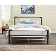 Faro Bed Frame - Small Double 4ft - Black & Silver - Metal, Headboard Bedroom