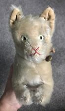"Very Rare 12"" Early ANTIQUE Steiff Cat Glass Eyes  Gray Mohair Excellent NO ID"