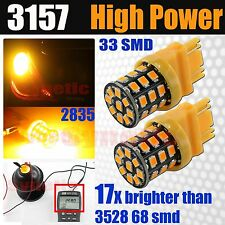 2x 3157 4157 High Power 2835 LED Amber Yellow Turn Signal Dual Filament Lights