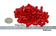 """250 Red Push-On Pliable Vinyl Caps - Plastic tips End Caps 3/16"""" inner Diameter"""