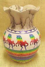 Native American Horsehair Pottery by Hilda Whitegoat Prancing Horse Petal Vase