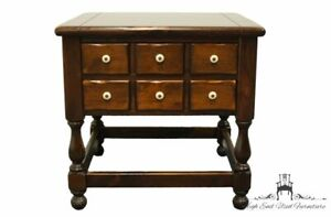 """ETHAN ALLEN Antiqued Pine Old Tavern 25"""" Square Accent End Table 12-8037"""