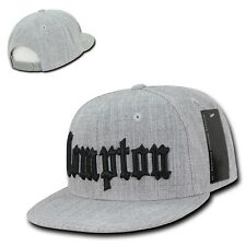 Heather Gray Compton Vintage Embroidered Hip Hop Flat Bill Snapback Ball Cap Hat