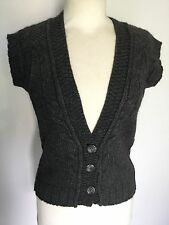 Fat Face Ladies Grey Sleeveless Cable Knit Cardigan Size 8. Great Condition.