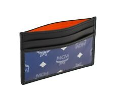 Authentic MCM Resnick Reflective Credit Card Case Wallet Blue