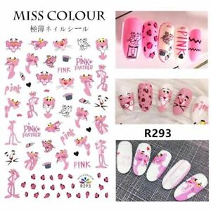 Nail Stickers Nail Art Decal Waterproof Cute Pink Leopard Panther