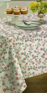 Pink Floral  Flannel Back Vinyl Tablecloth Dusty Pink and White 60 x 84 Oblong