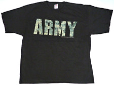 Bayside The True American Made Tee Army Camouflage 100% Cotton T-Shirt Black 2Xl