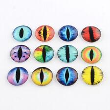 Glass Cabochons - Asstd Fantasy Creature Eyes - 16 x 12mm Diametre Round 8 pairs