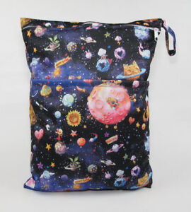 Large Cloth Mama Wet Bag for Nappies, Wipes, Cloth Sanitary Pads, CSP - Space