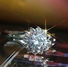 Lujo Anillo Oro Blanco 18k Chapado Plata Cristal De Compromiso Regalo Navidad