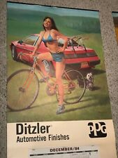 Ditzler Auto Finish Sexy Pin Up Girl Calendar Sign Bicycle Car Rogers City Mich