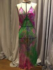 Vintage 90's Patchwork Embroidered Silk Chiffon  Dress Small