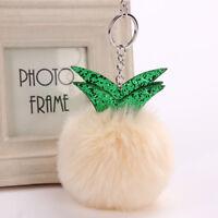 Cute Plush Fluffy Pineapple Bag Hanging Accessories Keyring Pendant Pom Ball