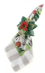 Mackenzie Childs Full Bloom Intricate Beaded Cherry Napkin Ring.