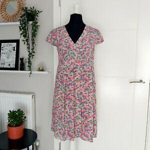 Boden Limited Edition Women's Floral 100% Silk Dress UK Size 12 Short Sleeve