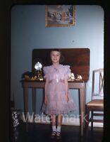 1950s red border Kodachrome photo slide Girl in dress Greenland Military Base