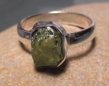 925 sterling silver rough green peridot ring UK P-P½/US 7.75-8