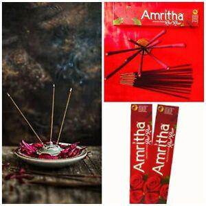 Amritha Incense Sticks Red Rose Floral Fantasy Fragrances Hand Dipped 24 Sticks