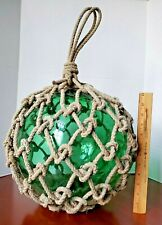 "Large 12"" dia Green Glass Fishing Float Net Rope Signed Japanese Mark 11.2 lbs"