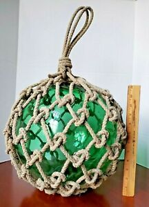 """Large 12"""" dia Green Glass Fishing Float Net Rope Signed Japanese Mark  11.2 lbs"""
