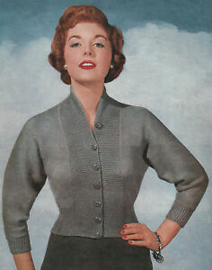 Knitting Pattern Lady's Vintage 1950s Fitted Cardigan. 34 to 38 Inch Bust.