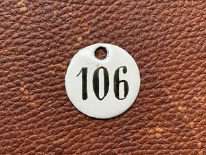 Number 106 Vintage Enamel Train Seat Numbers from Europe Lucky Number House Room
