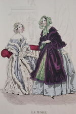 GRAVURE COULEURS LA MODE-OLD FASHION PRINT XIXe SIECLE COSTUME MD46