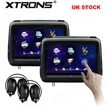 """2x 10.1"""" Car Headrest DVD Player Touch Screen Monitor Leather Cover +2 Headphone"""